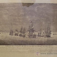 Arte: MAGNIFICO GRABADO BARCOS NAVAL DE SIMON BRIEVA: VISTA VI COMBATE DE TOLON MDCCXLIV SIGLO XVIII. Lote 38358653
