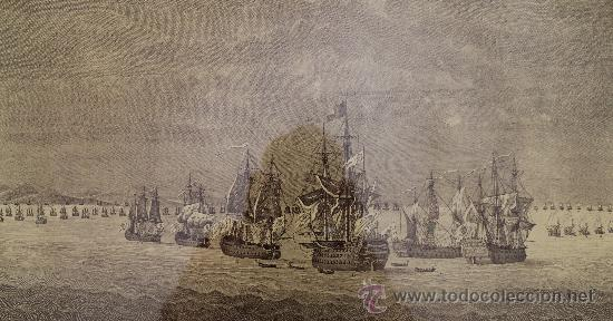 Arte: MAGNIFICO GRABADO BARCOS NAVAL DE SIMON BRIEVA: VISTA VI COMBATE DE TOLON MDCCXLIV SIGLO XVIII - Foto 2 - 38358653