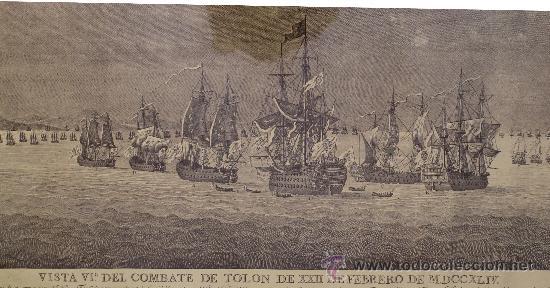 Arte: MAGNIFICO GRABADO BARCOS NAVAL DE SIMON BRIEVA: VISTA VI COMBATE DE TOLON MDCCXLIV SIGLO XVIII - Foto 3 - 38358653