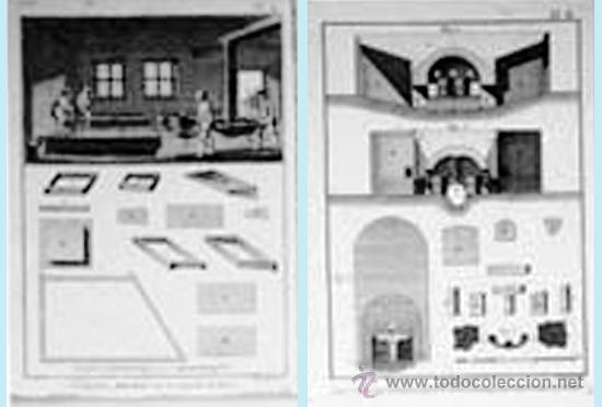 Arte: FF S. XVIII. LOTE CON 4 LÁMINAS GRABADAS DE TALLER DE CRISTALIZACION Y EXTRACCION DE LA SAL16 x 22 - Foto 2 - 38427768