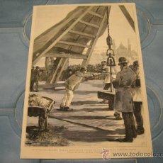 grabado: trabajos preliminares para la exposicion universal de 1889, en el campo de marte.-