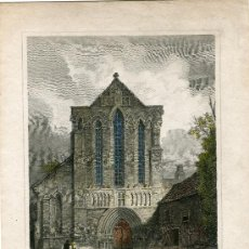 Arte: 'WEST FRONT LANERCOST PRIORY CUMBERLAND' 1813 GRABADO POR L.CLENELL SOBRE OBRA DE J. CREIG. Lote 38914518