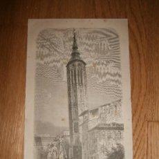 Arte: LA TORRE INCLINADA EN ZARAGOZA (TORRE NUEVA) - LÁMINA EN BRONCE / BLANCHARD Y WHITEHEAD (1875). Lote 39266539