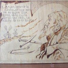 Arte: PIROGRABADO SOBRE MADERA. DON QUIJOTE DE LA MANCHA Y LEYENDA ESCRITA. FIRMADO. Lote 39390006