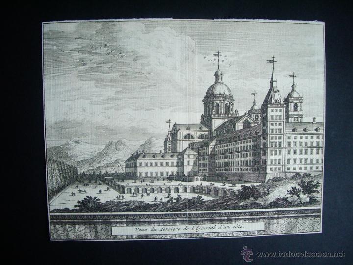 1707-GRABADO DEL ESCORIAL.MADRID.ORIGINAL DE VAN DER AA. JUAN ALVAREZ DE COLMENAR (Arte - Grabados - Antiguos hasta el siglo XVIII)