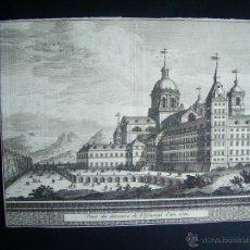 Arte: 1707-GRABADO DEL ESCORIAL.MADRID.ORIGINAL DE VAN DER AA. JUAN ALVAREZ DE COLMENAR. Lote 39684829
