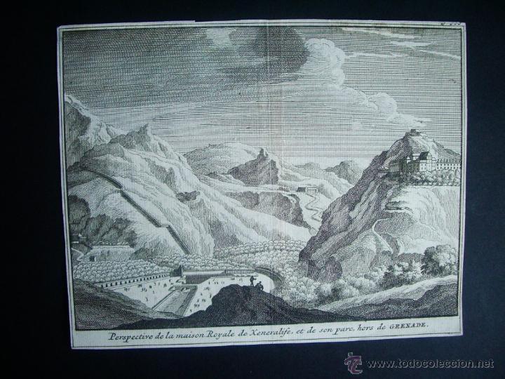 1707-GRABADO DE GENERALIFE. GRANADA.ORIGINAL DE VAN DER AA. JUAN ALVAREZ DE COLMENAR (Arte - Grabados - Antiguos hasta el siglo XVIII)