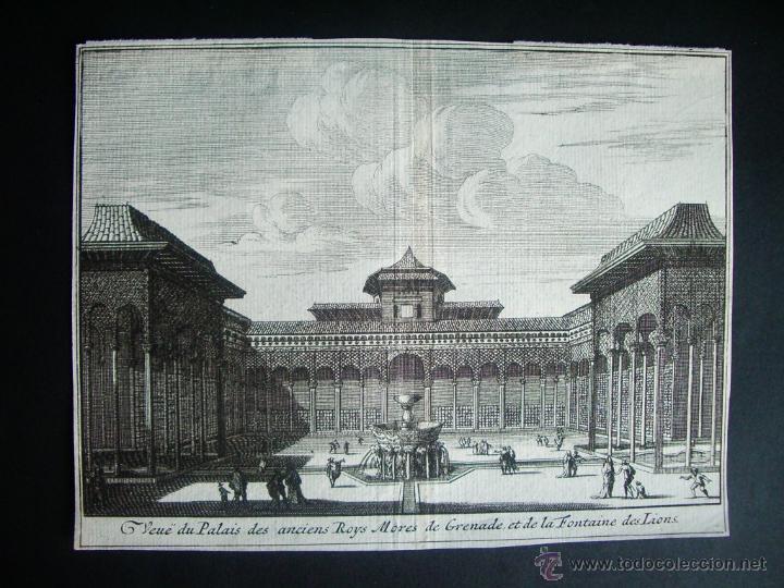 1707-GRABADO DEL PATIO LEONES.ALHAMBRA. GRANADA.ORIGINAL DE VAN DER AA. JUAN ALVAREZ DE COLMENAR (Arte - Grabados - Antiguos hasta el siglo XVIII)