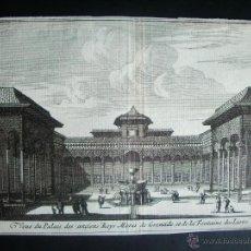 Arte: 1707-GRABADO DEL PATIO LEONES.ALHAMBRA. GRANADA.ORIGINAL DE VAN DER AA. JUAN ALVAREZ DE COLMENAR. Lote 39684907