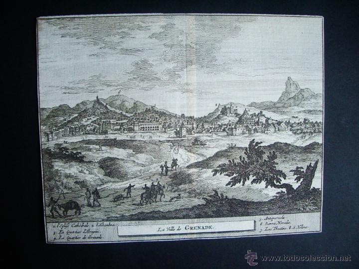 1707-GRABADO VISTA DE GRANADA.ORIGINAL DE VAN DER AA. JUAN ALVAREZ DE COLMENAR (Arte - Grabados - Antiguos hasta el siglo XVIII)