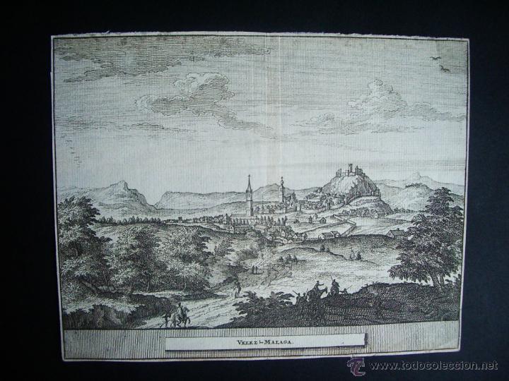 1707-GRABADO DE VÉLEZ MÁLAGA.ORIGINAL DE VAN DER AA. JUAN ALVAREZ DE COLMENAR (Arte - Grabados - Antiguos hasta el siglo XVIII)