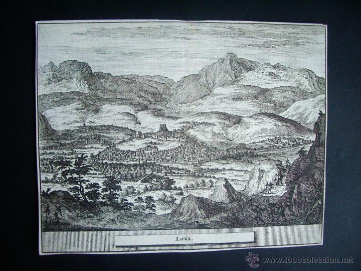 1707-GRABADO DE LOJA. GRANADA.ORIGINAL DE VAN DER AA. JUAN ALVAREZ DE COLMENAR (Arte - Grabados - Antiguos hasta el siglo XVIII)