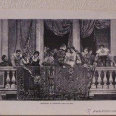 Arte: ESPERANDO AL VENCEDOR. GRABADO 40 CM. X 28'5. LA ILUSTRACIÓN ESPAÑOLA Y AMERICANA 1889. Lote 39709952