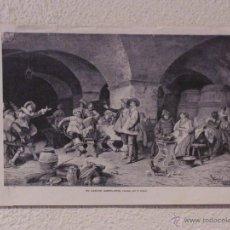 Arte: EL CANTOR AMBULANTE. GRABADO 40 CM. X 28'5. LA ILUSTRACIÓN ESPAÑOLA Y AMERICANA 1889. Lote 39710324