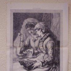 Arte: REGALO DE BODA. GRABADO 57 CM, X 40 CM. LA ILUSTRACIÓN ESPAÑOLA Y AMERICANA 1889. Lote 39716638