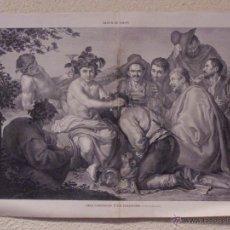 Arte: BACO CORONADO O LOS BORRACHOS, GRABADO 57 CM, X 40 CM. LA ILUSTRACIÓN ESPAÑOLA Y AMERICANA 1889. Lote 39717030