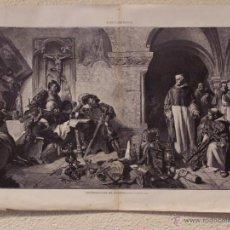 Arte: CONTRIBUCIÓN DE GUERRA. GRABADO 57 CM, X 40 CM. LA ILUSTRACIÓN ESPAÑOLA Y AMERICANA 1889. Lote 39717074