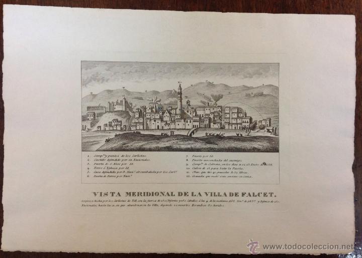 VISTA MERIDIONAL DE LA VILLA DE FALCET. GUERRAS CARLISTAS. ATAQUE DE LOS CARLISTAS DE TELL. 1837. (Arte - Grabados - Modernos siglo XIX)