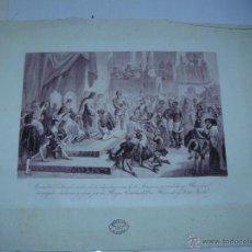 Arte: GRABADO SOBRE SEDA - A . SERRA - 1928 - LOS REYES CATÓLICOS RECIBEN A COLÓN. Lote 40181688