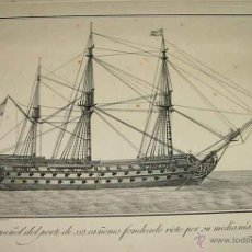 Arte: ANTIGUO GRABADO ORIGINAL DE NAVIO ESPAÑOL DEL PORTE DE 112 CAÑONES - SIGLO XVIII. GALEOTA ESPAÑOLA N. Lote 41201277