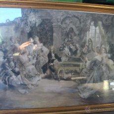 Arte: GRABADO FIRMADO Y COLOREADO A MANO DEL PINTOR VICENTE PAREDES CON PRECIOSO MARCO DORADO HANDEL. Lote 113509847