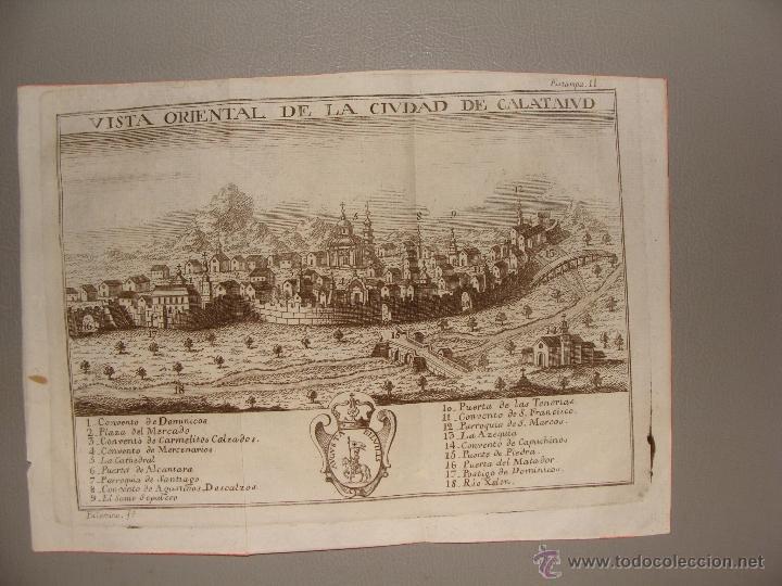 VISTA ORIENTAL DE LA CIUDAD DE CALATAYUD. GRABADO POR PALOMINO. 1779. ORIGINAL. IMPECABLE. (Arte - Grabados - Antiguos hasta el siglo XVIII)