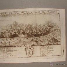 Arte: VISTA ORIENTAL DE LA CIUDAD DE CALATAYUD. GRABADO POR PALOMINO. 1779. ORIGINAL. IMPECABLE.. Lote 40366741