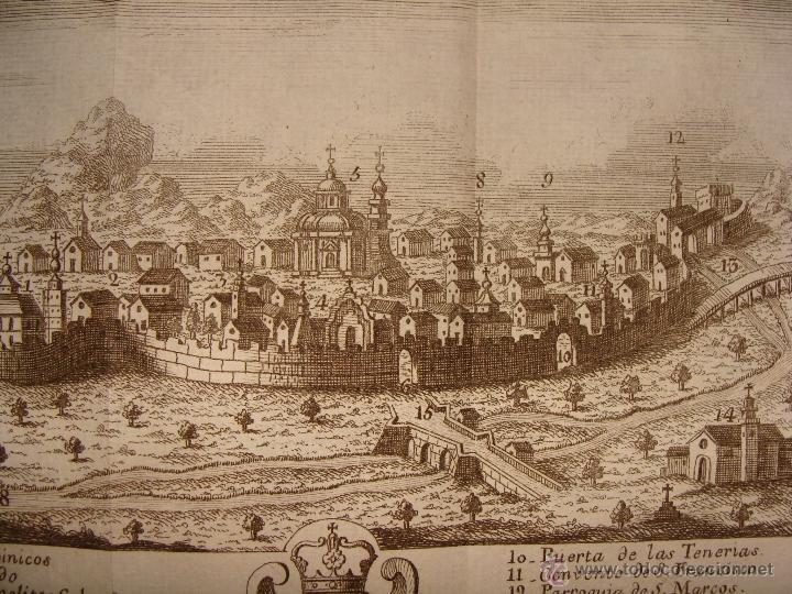 Arte: VISTA ORIENTAL DE LA CIUDAD DE CALATAYUD. GRABADO POR PALOMINO. 1779. ORIGINAL. IMPECABLE. - Foto 2 - 40366741