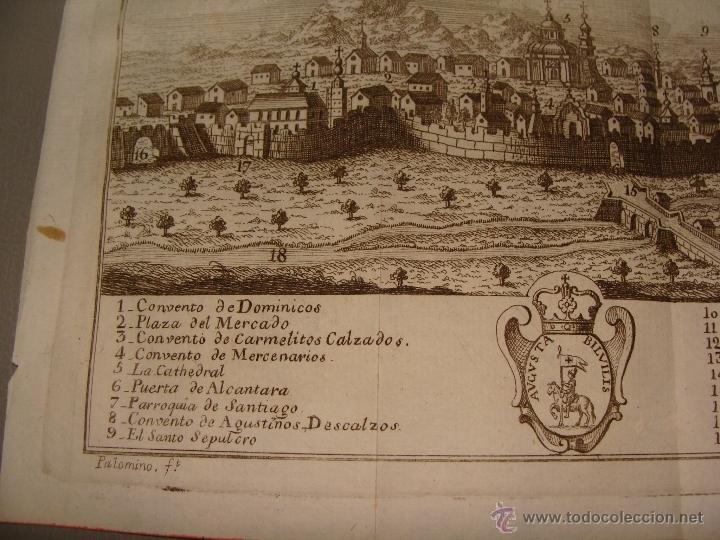 Arte: VISTA ORIENTAL DE LA CIUDAD DE CALATAYUD. GRABADO POR PALOMINO. 1779. ORIGINAL. IMPECABLE. - Foto 3 - 40366741