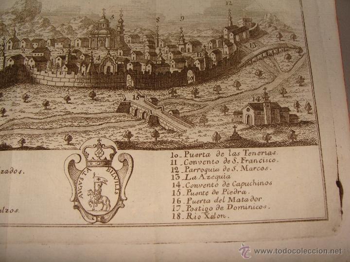 Arte: VISTA ORIENTAL DE LA CIUDAD DE CALATAYUD. GRABADO POR PALOMINO. 1779. ORIGINAL. IMPECABLE. - Foto 4 - 40366741