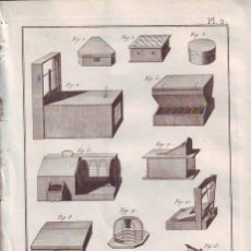 Arte: DIDEROT, DENIS: LAYETIER, OUVRAGES ET OUTILS. 2 LÁMINAS GRABADAS SIGLO XVIII (COFRERÍA). Lote 40377009