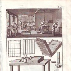 Arte: DIDEROT, DENIS: MARBREUR DE PAPIER (JASPEADOR DE PAPEL). 2 LÁMINAS GRABADAS SIGLO XVIII. Lote 40377066
