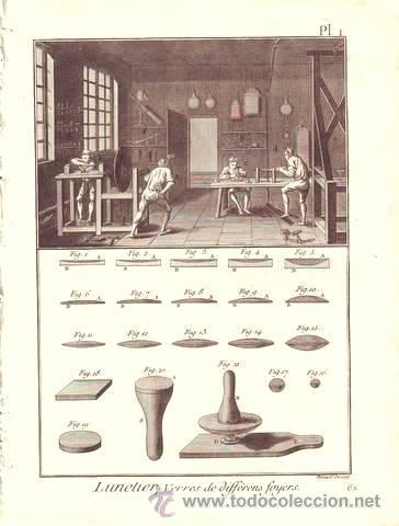 DIDEROT, DENIS: LUNETIER (OPTICA) 4 LAMINAS GRABADAS SIGLO XVIII (Arte - Grabados - Antiguos hasta el siglo XVIII)