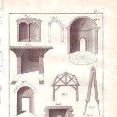 Arte: DIDEROT, DENIS: COUPPE DES PIERRES (CANTERIA). 5 LÁMINAS GRABADAS SIGLO XVIII. Lote 40388328