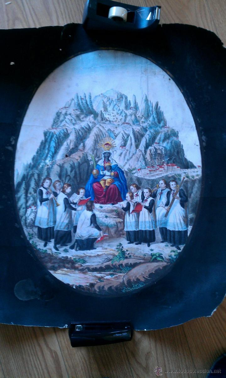 CA. 1850 GRABADO DE MONTSERRAT AL COBRE, ILUMINADO DE EPOCA 69 X 35 CM. (Arte - Grabados - Modernos siglo XIX)