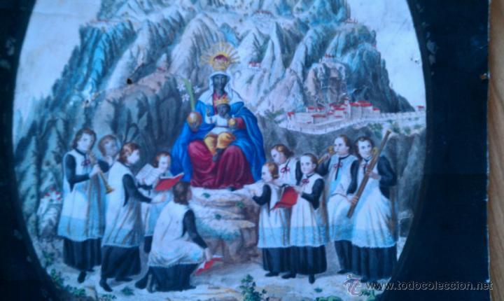 Arte: CA. 1850 GRABADO DE MONTSERRAT AL COBRE, ILUMINADO DE EPOCA 69 X 35 CM. - Foto 2 - 40756154