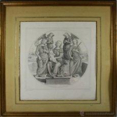 Arte: J3-015 - VIRGEN CON NIÑO Y SANTAS, GRABADO POR CARON EN 1867 DE UN ORIGINAL DE PERUGINO. Lote 40904770