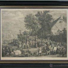 Arte: J2-013 LES ACCORDES FLAMMANDES, GRABADO DE J. LE BAS, Y MARTINY, DE UN ORIGINAL DE D. TENIERS, 1775. Lote 40908568