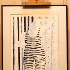 Arte: GRABADO MUJER MONO A RAYAS ANGIE SYMES 1986 1/6. Lote 41088779