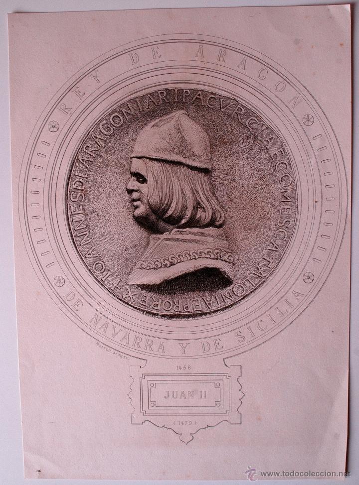 GRABADO ANTIGUO DE JUAN II DE CASTILLA Y PRINCIPE DE ASTURIAS (Arte - Grabados - Modernos siglo XIX)