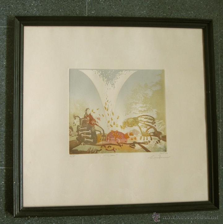 AGUAFUERTE Y AGUATINTA MONIR ISLAM 1977 (Arte - Grabados - Contemporáneos siglo XX)