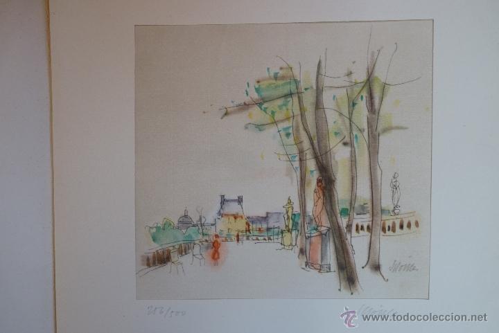 GRABADO EN COLOR, JARDÍN DE PARÍS, FIRMADO Y NUMERADO (Arte - Grabados - Contemporáneos siglo XX)