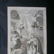 Arte: MUY BONITO GRABADO DE LA ANUNCION FECHADO EN 1764. Lote 41365102
