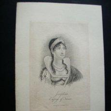Arte: 1808-JOSEFINA. MUJER DE NAPOLEÓN BONAPARTE.REVOLUCIÓN FRANCESA.GRABADO ORIGINAL. Lote 41754652