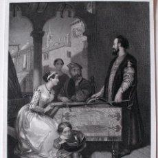 Arte: GRABADO DEL SIGLO XIX, THE TWO FOSCARI, DE UNA PINTURA DE R. HERBERT . Lote 42024341