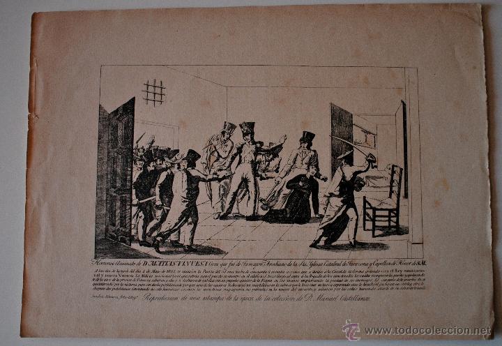 ANTIGUA HOJA, REPRODUCCION GRABADO HORROROSO ASESINATO DE MATIAS VINUESA, CURA DE TAMAJON (Arte - Grabados - Modernos siglo XIX)