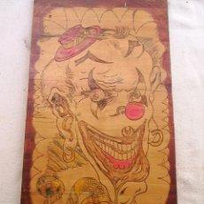 Arte: PIROGRABADO HECHO A MANO Y TINTADO SOBRE MADERA MACIZA DE 1,30 CM DE GRUESA-MIDE 48X25 CMX1,3 CM GR. Lote 42639199