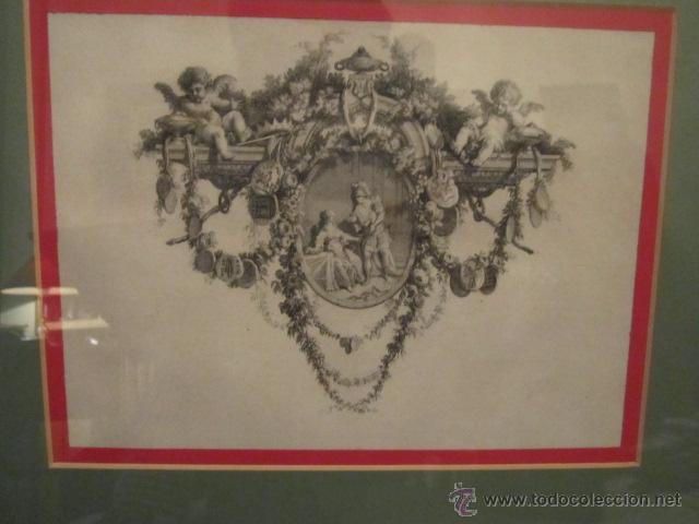 GRABADO ANTIGUO POSIBLEMENTE DE LIBRO, MEDIDA 16 X 23 CM. ENMARCADO 53 X 47 CM. (Arte - Grabados - Antiguos hasta el siglo XVIII)