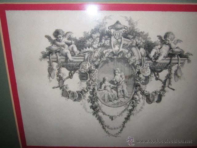 Arte: Grabado antiguo posiblemente de libro, medida 16 x 23 cm. enmarcado 53 x 47 cm. - Foto 3 - 42804583