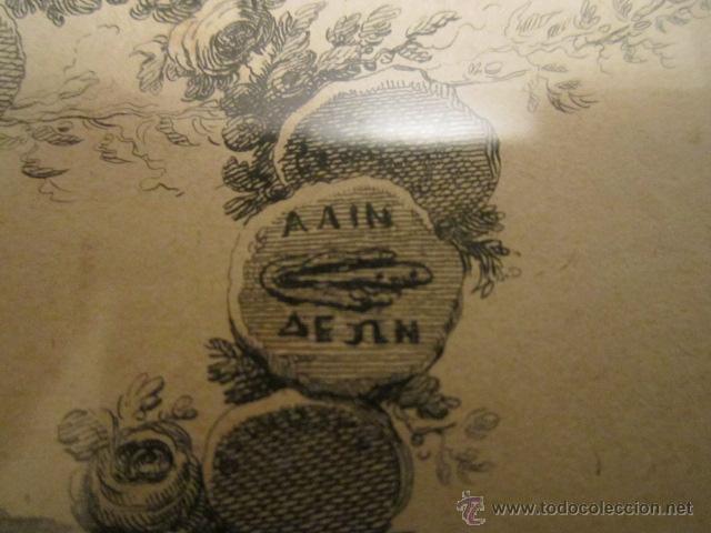 Arte: Grabado antiguo posiblemente de libro, medida 16 x 23 cm. enmarcado 53 x 47 cm. - Foto 4 - 42804583
